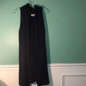 Chenille back sleeveless long cardigan